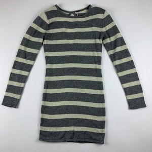 POOF Women Gray & White Striped Cozy Sweater Dress